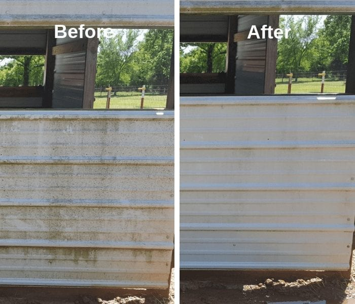 All Mighty cleaner on Aluminum Siding livestock pen