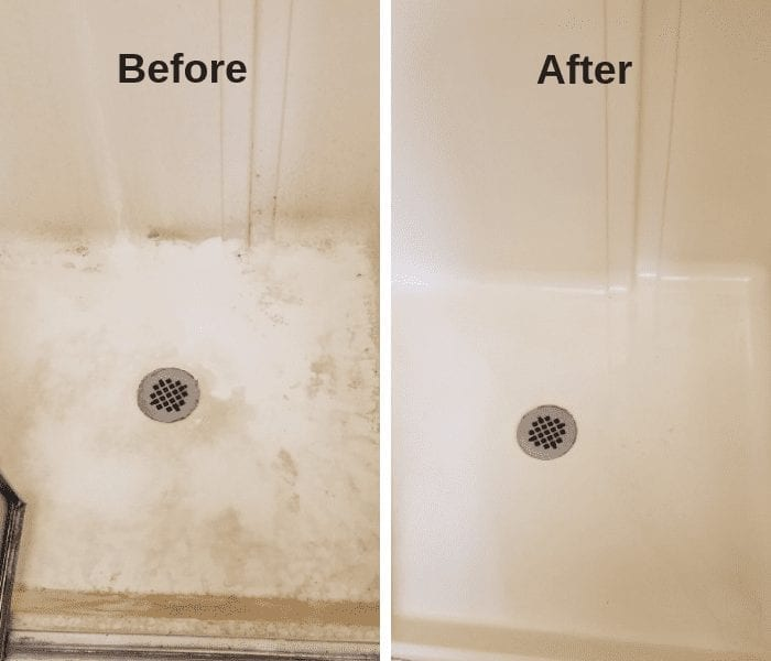 All mighty before and after shower picture - cleaning dirt, grime, mold and mildew stains.